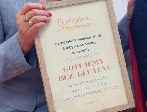 """Certyfikat """"Gotujemy bez glutenu"""" dla pierwszego przedszkola w Polsce"""