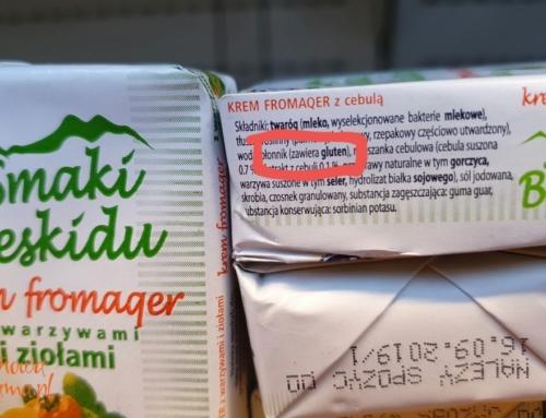Uwaga na serek, sól czy i kiełbasę z glutenem